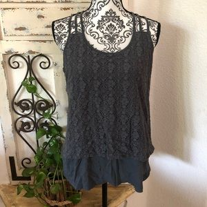 Pj salvage lace with liner tank top